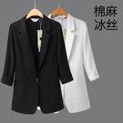 棉麻西裝 黑色棉麻西裝女外套中袖正韓修身顯瘦七分袖夏薄款亞麻小西服-Ballet朵朵