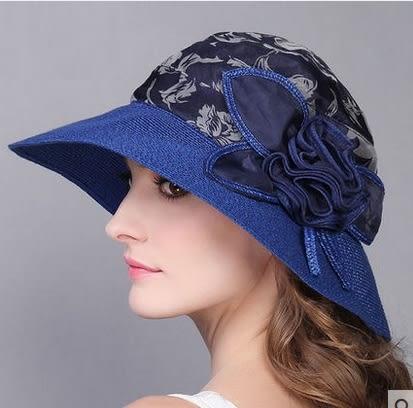 夏天韓版防曬可折疊真絲遮陽帽渡假出遊沙灘帽子  -charle0025