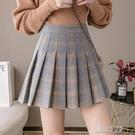 百褶裙女 高腰百褶裙女學生新款毛呢格子短裙半身裙防走光a字顯瘦傘裙 快速出貨