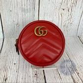 BRABD楓月 GUCCI 古弛 575160 紅色 MAREONT款 LOGO 愛心 圓型 零錢包 小包