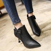 高跟細跟尖頭韓版蝴蝶結女鞋短靴新馬丁靴裸靴女靴子 優家小鋪