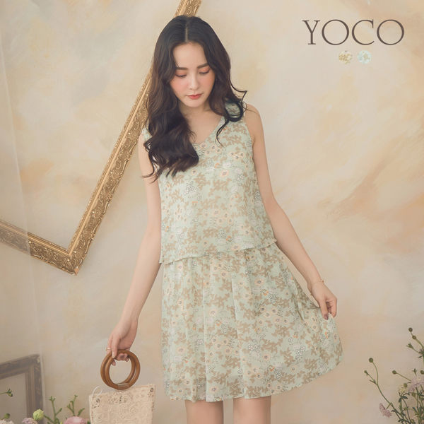 東京著衣【YOCO】YOCO-清新度假風滿版花卉縮腰洋裝-S.M.L(190431)