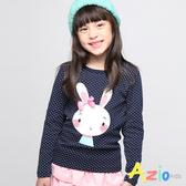 Azio女童 上衣 可愛點點兔子蝴蝶結印花長袖上衣 (藍) Azio Kids 美國派 童裝