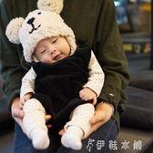 帽子 兒童針織帽卡通手工小熊帽男女寶寶護耳套頭帽嬰兒保暖帽 伊鞋本鋪
