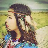 民族風長流蘇頭巾旅遊度假拍照配飾女波西米青海雲南泰國海邊裝飾  糖糖日系森女屋