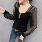 秋季棉t恤純色燈籠袖韓版修身顯瘦女上衣長袖打底衫H480A紅粉佳人
