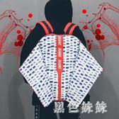 超大容量雙肩包男女情侶旅行背包時尚潮流韓版休閒個性方書包學生 qf7571【黑色妹妹】
