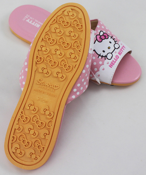 【卡漫城】 Hello Kitty 皮革 拖鞋 20CM 粉紅白點 ㊣版 凱蒂貓 女童兒童 台灣製 圓點 室內拖 止滑