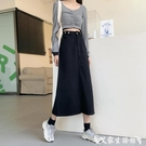 牛仔半身裙 黑色高腰牛仔半身裙女2021年夏季新款韓版顯瘦百搭休閒a字中長裙 艾家