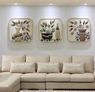 北歐壁畫客廳沙發背景牆裝飾畫現代簡約三聯畫餐廳掛畫玄關浮雕畫QM 依凡卡時尚