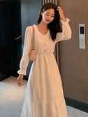 長袖洋裝 白色長袖連身裙女春秋仙女白裙子仙氣超仙森繫長款收腰氣質長裙夏 韓國時尚週
