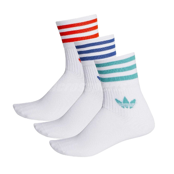 adidas 襪子 Mid-Cut Crew Socks 白 三葉草 復古 三色 藍紅綠 【ACS】 FM0639