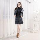 英倫風格紋毛呢套裝 短外套 + 格紋裙 (黑色)