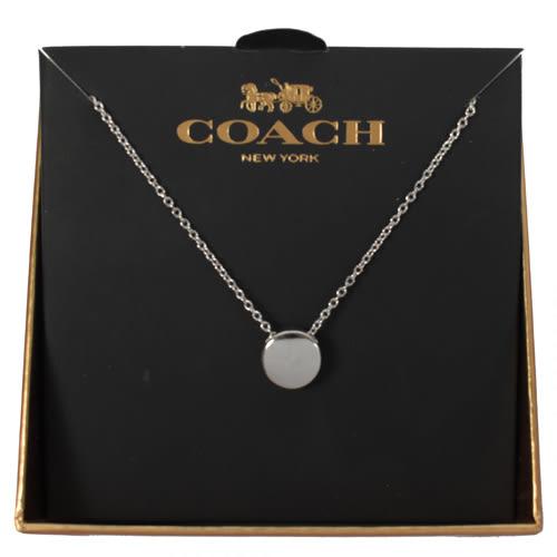【蟹老闆】COACH 國際精品 項鍊  圓形 銀色 禮盒組