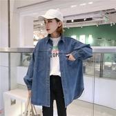 秋裝韓版bf雙口袋港風中長款牛仔外套女襯衫學生復古寬鬆休閒上衣