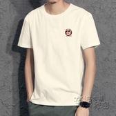 新款港風夏季短袖T恤青年男士純棉寬鬆大碼日系圓領半袖t桖 衣櫥秘密