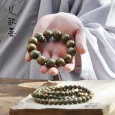禪木匠 正宗老料綠檀木佛珠手鍊男女款念珠天然綠檀手串108顆2.0