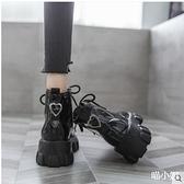 帥氣馬丁靴女英倫風2020年秋季新款百搭機車靴厚底坡跟復古短靴女 喵小姐