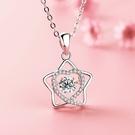 項鍊 華麗閃星星微鑲愛心AAA鋯石30%銀 鎖骨鍊