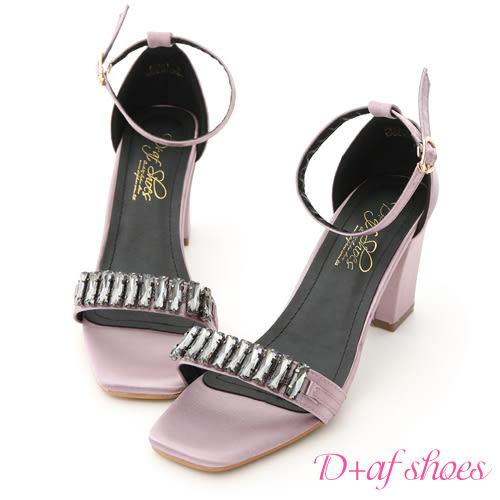D+AF 晚宴佳人.寶石串飾一字高跟涼鞋*紫