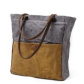 手提包-帆布簡約復古撞色購物袋女肩背包5色73nd89【巴黎精品】