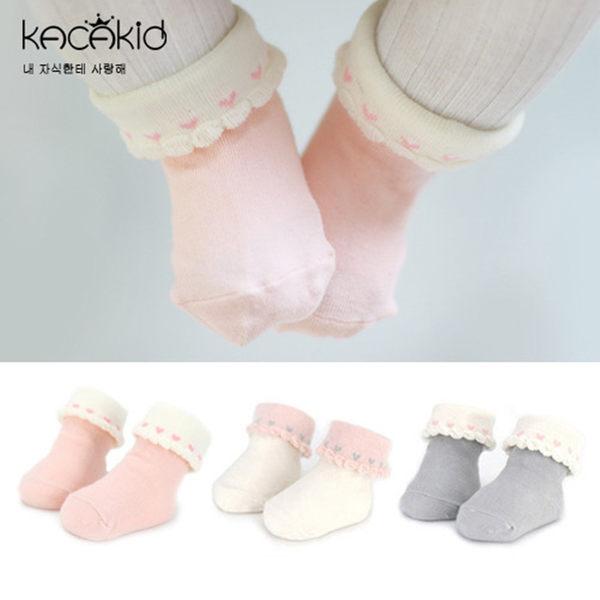 【韓風童品】Kacakid 嬰幼兒防滑點膠襪 女童短襪 愛心花邊造形棉襪 素色防滑童襪