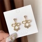 【NiNi Me】耳環 現貨 甜美可愛水鑽蝴蝶結925銀針耳環 耳環 N0570