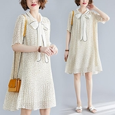 洋裝 中大尺碼 2021新款夏寬鬆中長款大碼女裝雪紡胖mm顯瘦遮肚印花蝴蝶結連身裙
