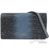 茱麗葉精品【 全新現貨】 COACH 73002 仿蟒蛇皮革拼接皮夾式斜背包.藍
