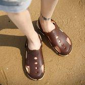 夏天男土涼鞋手工大頭包頭兩用涼拖鞋潮牌個性沙灘鞋復古男鞋    西城故事