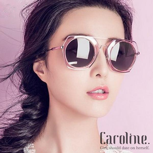 《Caroline》★年度最新.防紫外線多邊形復古炫彩反光鏡潮人明星抗UV太陽眼鏡 69336 標檢局D74321
