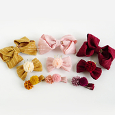 布藝花朵緞帶蝴蝶結髮夾 3入組 髮飾 邊夾 碎髮夾