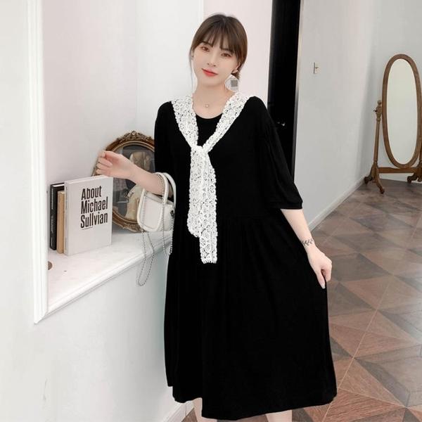 L-4XL胖妹妹大碼洋裝連身裙~大碼寬松胖mm中長款莫代爾純色連身裙3F061A衣時尚