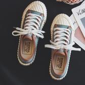 餅干鞋帆布鞋女2019新款夏款韓版百搭學生板鞋厚底小白鞋子潮