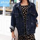 【V0472】shiny藍格子-牛仔時尚.刷破造型寬鬆長袖牛仔外套