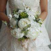 結婚影樓拍照道具新娘手捧花仿真韓式森繫清新假花中式西玫瑰牡丹  時尚教主