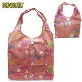 粉色款【日本正版】史努比 摺疊 購物袋 環保袋 手提袋 防潑水 Snoopy PEANUTS - 295125