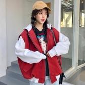 大學T外套女春秋韓版學生bf原宿風寬鬆怪味少女嘻哈加絨加厚棒球服