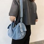 牛仔包韓版做舊工裝風水洗牛仔布包大容量單肩包斜挎包休閒女包【全館免運】