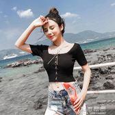 夏季時尚韓版修身顯瘦性感短款針織T恤休閒百搭上衣女潮 可可鞋櫃