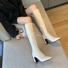 膝上靴 長筒靴女2020夏季新款韓版百搭小個子不過膝靴尖頭網紅粗跟高筒靴 喵小姐