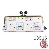【日本製】貓小紋帆布系列 縱長型口金萬用包 七寶紋貓咪圖案 SD-7042 - 日本製 貓帆布系列