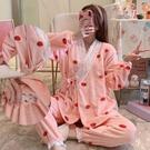 和服 珊瑚絨月子服秋冬季和服孕婦睡衣春季產后產婦哺乳期母乳喂奶睡衣 薇薇