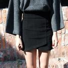 毛呢半身裙秋冬新款韓版不規則小個子高腰顯瘦修身性感包臀裙短裙 黛尼時尚精品