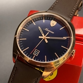 星晴錶業-FERRARI法拉利男女通用錶,編號FE00005,42mm玫瑰金錶殼,咖啡色錶帶款