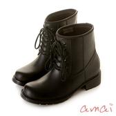 amai  SGS認證-挺版修飾軍靴造型雨靴 黑
