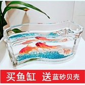 烏龜缸 魚缸龜缸長條形s形玻璃小型迷你加厚辦公室造景魚缸 斗魚缸 - 歐美韓熱銷