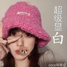 熱賣羊羔毛帽子 泰迪漁夫帽圓臉適合的帽子玫紅色羊羔毛絨秋冬天季素顏女【618 狂歡】