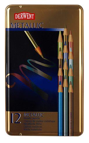 英國Derwent Metallic系列12色彩色金屬色鉛筆*0700456