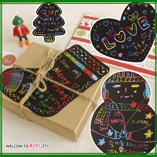 聖誕系列DIY刮刮畫組合卡片+信封+筆 聖誕卡 禮物